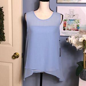Vince Camuto delicate blue asymmetrical hem blouse
